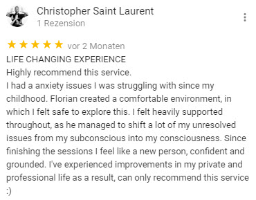Christopher gives feedback about berlin hypnose florian günther english hypnosis