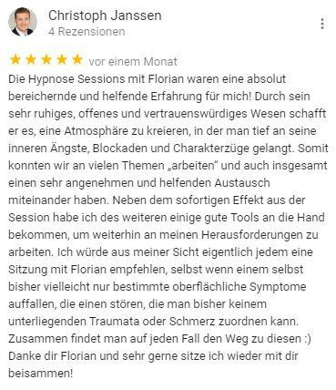 Christoph Bewertung für Berlin Hypnose Florian Günther
