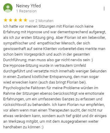 Neiney Bewertung für Berlin Hypnose Florian Günther